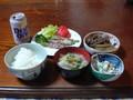 夕食ア スパラの豚肉巻、豚肉とごぼうの煮物、オカラのサラダ、豚汁