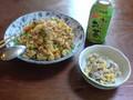 昼食キ ムチチキンライス、ツナコーンサラダ
