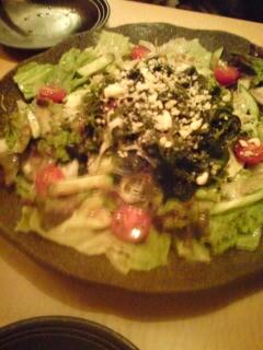 海藻とチーズのサラダ、くるみソース