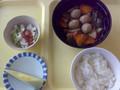 晩ご飯。この食事からお粥をやめて普通のごはんに変更。そして初メロ