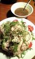 昨日ごはん。蒸し鶏と野菜の梅シソだれ。梅干しは角田産のものを〜。