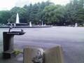 帰宅ラッシュを避けるべく、日比谷公園でAURA読んでから帰る