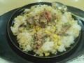 [popona][夕食][肉] ペッパーランチなう。 混ぜた後なので見栄えは無視