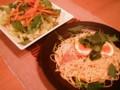 [かじ][ごはん]明太子スパと山盛り野菜サラダ。