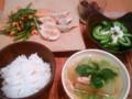 [かじ][ごはん]餃子、空心菜炒め、冬瓜煮物、ゴーヤ和え