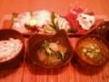 [かじ][ごはん]刺身大量、三十穀米、もずくとオクラの味噌汁、冬瓜煮物