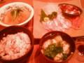 [かじ][ごはん]平目の昆布締め、サーモン、鮪山かけ、ハモと松茸のお吸い物、冬瓜煮