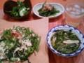 [かじ][ごはん]空心菜とゴーヤのそーみんチャンプル、エリンギとモロヘイヤのスープ