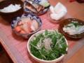 [かじ][ごはん]秋刀魚、大根煮物、水菜じゃこサラダ、えのきおろしポン酢、梨