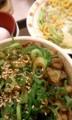 [夕食]ねぎ玉豚丼並味噌汁サラダセット(すき家) 500 円