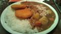 婆人魚カレー。人魚の肉はツナみたいな味だな。エビ煮込みの存在感の