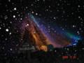 オシンコシンの滝(ライトアップ)に小雪の化粧が…