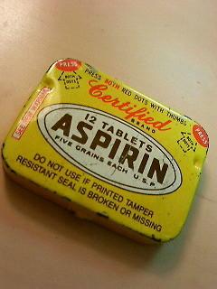 アスピリンといえば、米国で買った缶入りアスピリンの入れ物はお気に