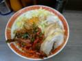 昨日の二郎関内店の汁ナシ、小豚、ニラキムチ、粉チーズである。