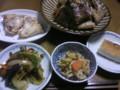 夕飯は鯛のあら炊き、かま焼き、野菜のオイスター炒め、レンコンのき