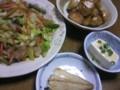 夕飯は鯖の塩焼き、野菜のオイスター炒め、甘辛ジャガイモ、湯豆腐。