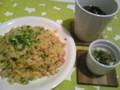 ツナ炒飯 ワカメスープ タマゴベーコンinココ ット 炒飯パラパラにで