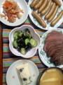 今日の晩御飯。ローストビーフとウインナーは二人前〜