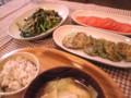 @foodmemo 今日の晩ゴハン。ハニートマト/小松菜とキノコのオイスター