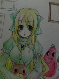 描き直し中。やっぱ俺には色鉛筆だな…色鉛筆は俺の嫁!