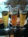 城山観光ホテルで地ビール。レモングラス、桜島小みかん、杜肥茶。う