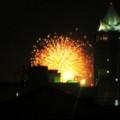 今年も自宅リビングから、こんな感じでNEXT21越しに花火見物。屋上に上