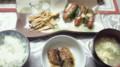 夕食:ピーマンのウインナー乗せチーズ焼き、エリンギソテー、さんま