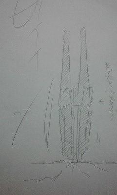 鬱になったイデアが学校の屋上から飛び降りて地面に突き刺さったの図