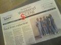 Japan Times のフリーペーパーの1面がユニコーンとは!