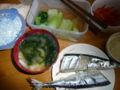 昼飯からがんばりすぎた:秋刀魚の塩焼き、チンゲン菜のおひたし、に