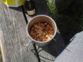 ショートパスタのトマトソースウインナーと茄子入り