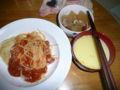 組み合わせ失敗した・・・ミートソース、コーンスープ、大根煮付けっ