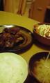 ディナー:ヒレステーキ、サーモンサラダ、味噌汁
