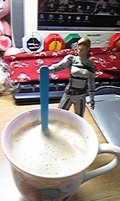 ぼしゅがカフェラッテいれてくれたのー!