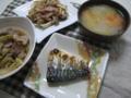 鯖塩焼き、白菜と豚肉蒸し煮、茸とベーコンバター焼き、豚汁。焼き魚