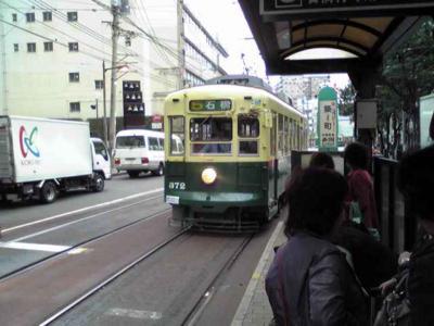 路面電車でグラバー園へ。この配色、昔名古屋を走ってた市電と同じだ