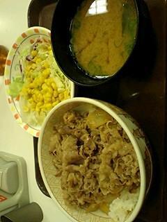 今日の夕食すき家牛丼サラダセット399円