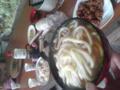 で、愛媛うどん(柔らかく、汁は濃い)と自然薯の天ぷら、秋刀魚、米