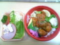 今日のお昼は鎌倉屋の、若鶏唐揚げあんかけ弁当に、野菜サラダ。