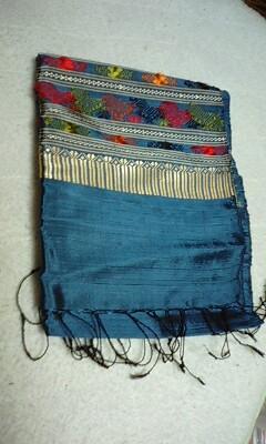 愛知万博のラオスあたりで買ったきれいな織物。はなだ色っぽい。スペ