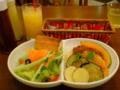 晩御飯(^O^)無農薬野菜のお店でパスタとサラダ