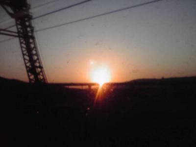 お京阪から見る夕日、きれい!