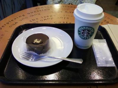 white chocolate moca and chocolate cake at starbucks cafe;)