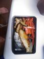 焼き魚の弁当をつくってる。