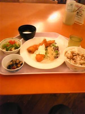 腹減ったから、社食で早めの夕食なう。今日の定食のササミフリッター