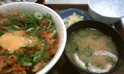 ヽ( `Д´ )すき家なう !!!!!  ねぎ玉メガお新香セット2辛