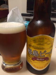 帰宅後の一杯は松島ビール・ヘレスなり☆麦芽の甘味を強く感じるビー