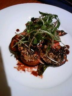 エビの白黒ゴマ揚げと 夏野菜バルサミコ酢合え