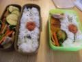 本日の弁当:ごましお梅干しご飯、人参小松菜椎茸豚バラ炒め 、コロ