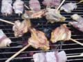 炭火で比内地鶏のBBQなう! #akita